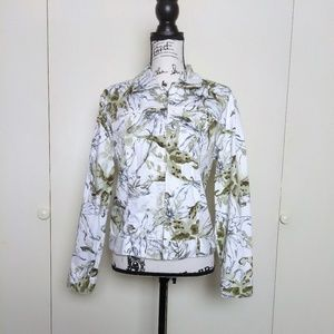 Chico's White Green Floral Print Zip Up Jacket